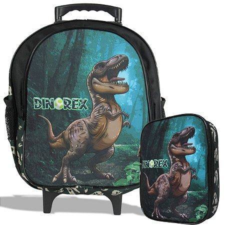 Mochila Escolar de Rodinha Tam M e Estojo 100 Pens Dino-Rex