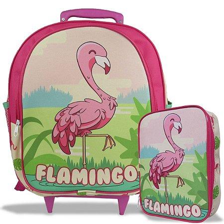 Mochila Escolar de Rodinha Tam M e Estojo 100 Pens Flamingo
