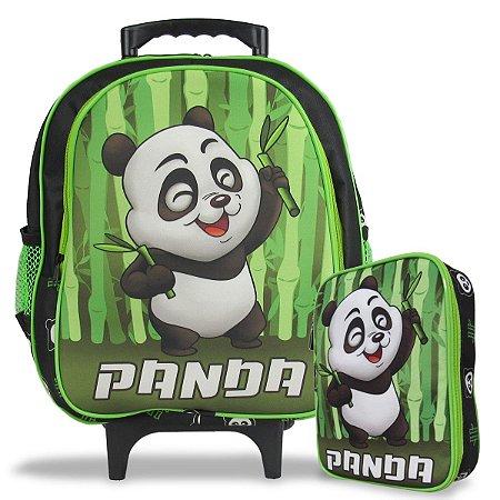 Mochila Escolar de Rodinha Tam M e Estojo 100 Pens Panda