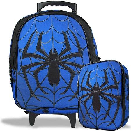Mochila Escolar de Rodinha Tam M e Estojo 100 Pens Spider