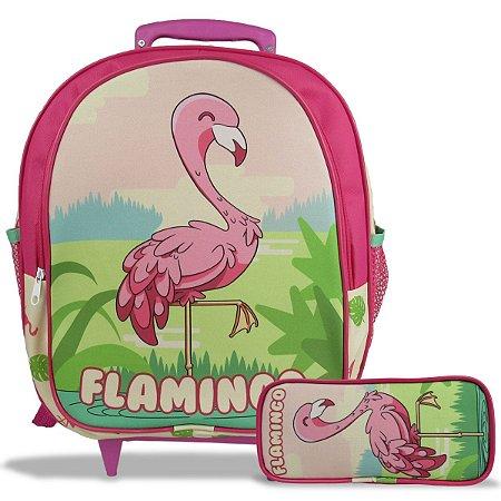 Mochila Escolar de Rodinha Tam M e Estojo Flamingo