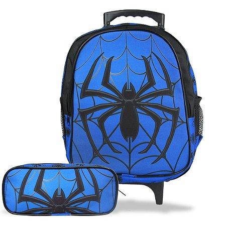 Mochila Escolar de Rodinha Tam M e Estojo Spider