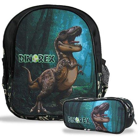 Mochila Escolar de Costas Tam M e Estojo Dino-Rex