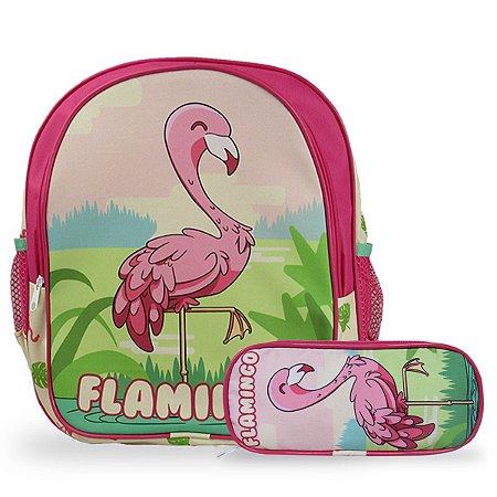 Mochila Escolar de Costas Tam M e Estojo Flamingo