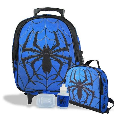 Mochila Escolar de Rodinhas Tam M e Lancheira Spider