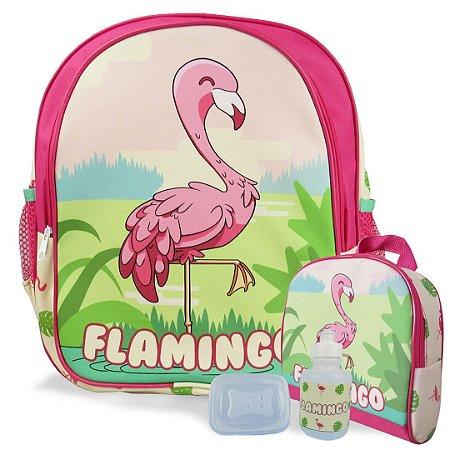 Mochila Escolar de Costas Tam M e Lancheira Flamingo
