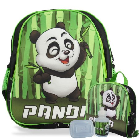 Mochila Escolar de Costas Tam M e Lancheira Panda
