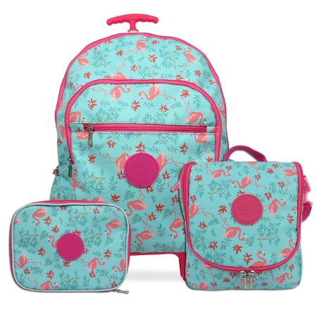 Kit Mochila Escolar Infanto Juvenil Flamingos