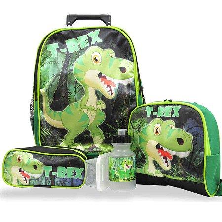 Kit Mochila Escolar Infantil Rodinhas Dinossauro T-rex