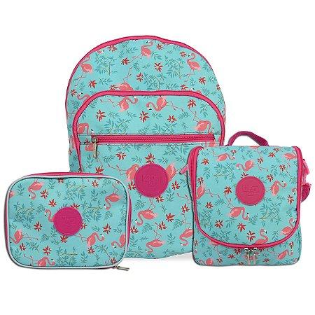 Kit Mochila Escolar Infantil Juvenil Feminina Flamingo Costas