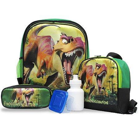 Kit Mochila Escolar Infantil Costas Tamanho G dinossauro
