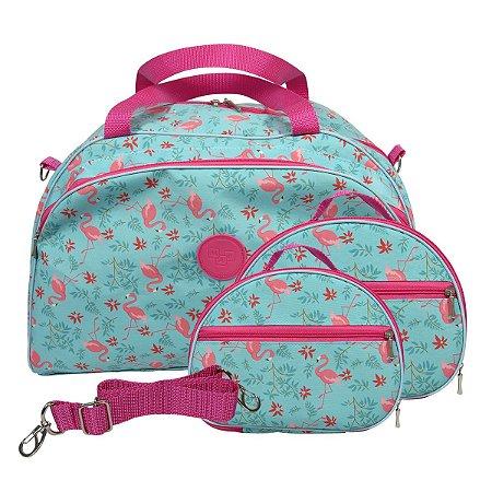 Kit Bolsa de Viagem Flamingo Grande e 2 Necessaires  M e P