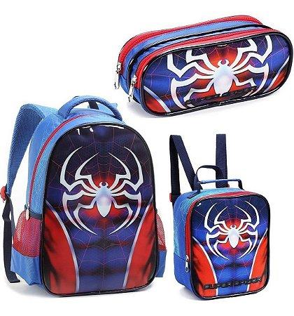 Kit Mochila De Costas Super Spider + Lancheira+ Estojo