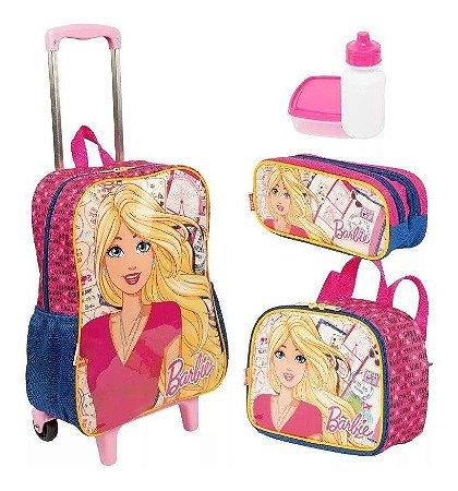 Kit Mochilete G Barbie 19m + Lancheira E Estojo Sestin