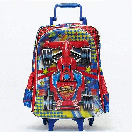 Mochila Escolar Infantil Carros Speed Boy 3d Rodinhas Tam G