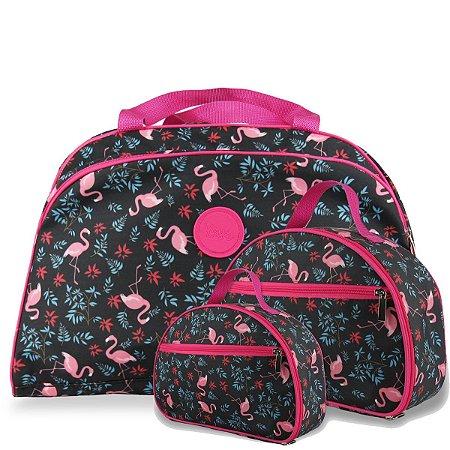 Bolsa de Viagem Grande e 2 Necessaires  M e P Flamingo
