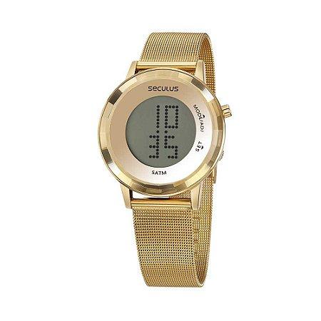 Relógio Seculus Digital LCD Malha de Aço Dourado