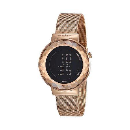 Relógio Digital Malha de Aço Rosé