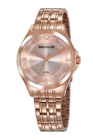 Relógio Seculus Aço Vidro Facetado Róse Gold