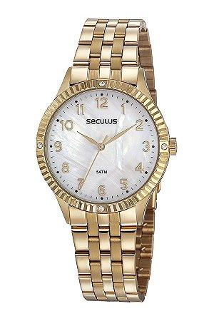 Relógio Seculus Casual Cristais Dourado
