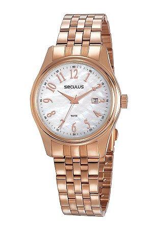 Relógio Seculus Madrepérola com Calendário Rosé