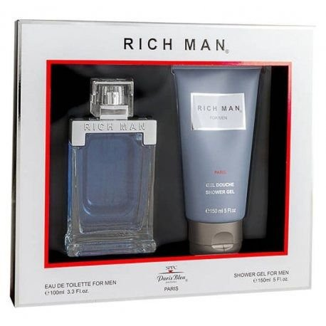 Kit Perfume Paris Bleu Rich Man EDT 100mL + Shower Gel 150mL - Masculino