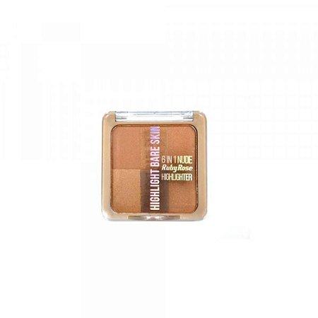 Pó Iluminador Highlight Bare Skin 6 em1 Ruby Rose HB-7214 cor 2