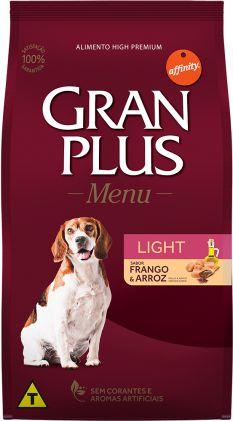 Ração Gran Plus Menu para Cães Adultos Light sabor Frango e Arroz