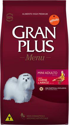 Ração Gran Plus Menu para Cães Adultos Mini sabor Carne e Arroz