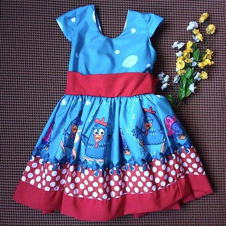 Vestido de Festa Infantil Temática Galinha Pintadinha