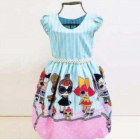 Vestido de Festa Temática Infantil da LOL Azul com Cinto