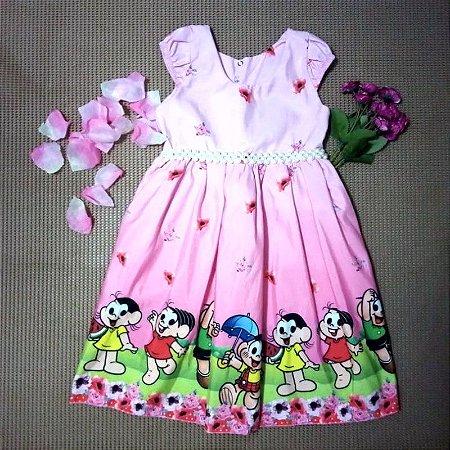 Vestido de Festa Luxo Turma da Mônica Rosa