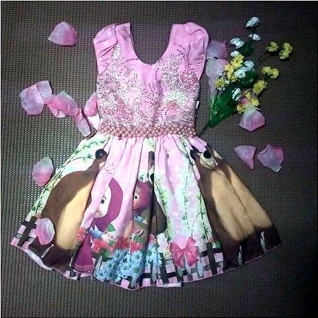 Promoção Vestido de Festa Infantil da Marsha e o Urso