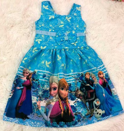 Vestido de Festa Temático Infantil Modelo com Lacinho no Peito (Frozen, Lol, Chuva de Bênção, Ladybug, Minie Vermelha, Minie Rosa, Baby Shark, Moranguinho, Turma da Mônica)