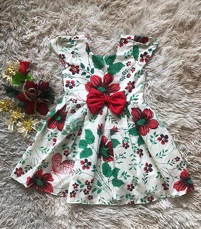 Vestido Floral nas cores Vermelho e Verde com Lacinho Vermelho no peito