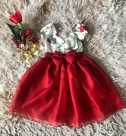 Vestido infantil floral vermelho para o natal com lacinho no vermelho no peito