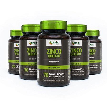 Kit 5x Zinco Quelato - 70 cápsulas