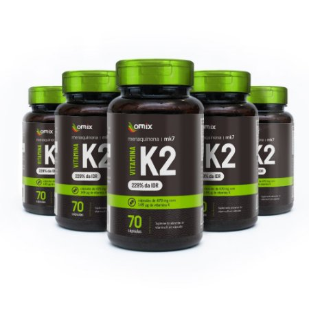 Kit 5x Vitamina K2 - MK7 - 70 cápsulas