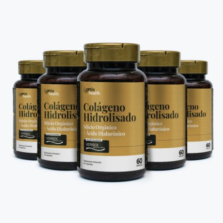 Kit 5x Colágeno Verisol® + Silício Orgânico + Ác. Hialurônico - 60 cápsulas
