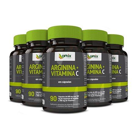 Kit 5x Arginina e Vitamina C - 90 cápsulas
