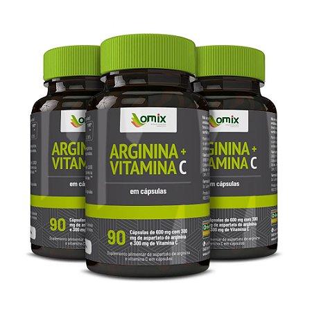 Kit 3x Arginina e Vitamina C - 90 cápsulas