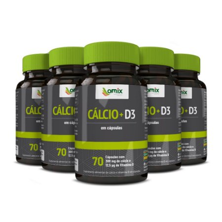 Kit 5x Cálcio + D3 - 70 cápsulas