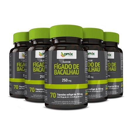 Kit 5x Óleo de Fígado de Bacalhau (250 mg) - 70 cápsulas
