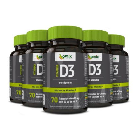 Kit 5x Vitamina D3 - 70 cápsulas