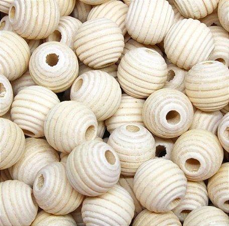 Bola de Madeira Frizada (Passante) - 16 mm (pacote com 10 bolas) Cor: marfim