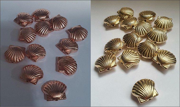 Entremeio Passante Concha - ABS - Cores: Dourada ou Rosê (cobre) - Tamanho 14 x 16mm - *embalagem com 10 unidades*