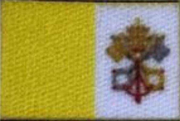 Emblema, Etiqueta Termocolante - Bandeira do Vaticano - Tamanho 17X12 mm - (Pacote com 5 pares de bandeirinhas)