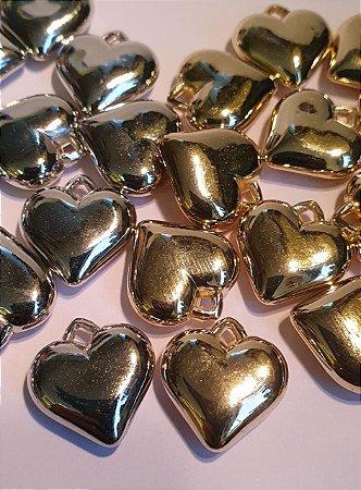 Pingente Coração ABS - Dourado ou Prateado - 16mm - *Embalagem com 10 unidades*