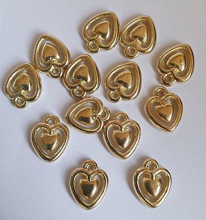 Pingente Coração Contornado -  ABS - Dourado - 12 x 15mm - *Embalagem com 10 unidades*