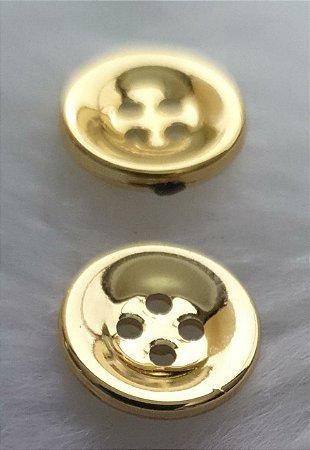 Botão plástico - 4 Furos - Cores: Dourado ou prateado - Tamanhos P 12mm e G 15mm e GG (20mm) - *embalagem com 10 unidades*